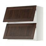 МЕТОД Навесной шкаф/2 дверцы, горизонтал - 80x80 см, Эдсерум под дерево коричневый, белый