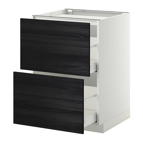 МЕТОД / МАКСИМЕРА Напольн шкаф/2фронт пнл/3ящика - 60x60 см, Тингсрид под дерево черный, белый