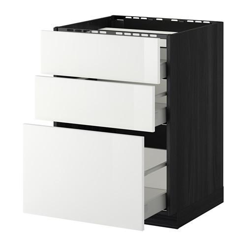 МЕТОД / МАКСИМЕРА Напольн шкаф/3фронт пнл/3ящика - 60x60 см, Рингульт глянцевый белый, под дерево черный