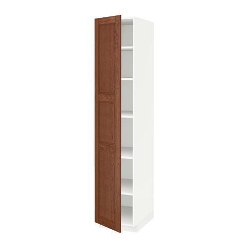 МЕТОД Высок шкаф с полками - 40x60x200 см, Филипстад коричневый, белый