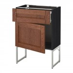 МЕТОД / ФОРВАРА Напольный шкаф с ящиком/дверью - 60x37x60 см, Филипстад коричневый, под дерево черный