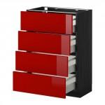 МЕТОД / МАКСИМЕРА Напольн шкаф 4 фронт панели/4 ящика - 60x37 см, Рингульт глянцевый красный, под дерево черный