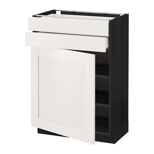 МЕТОД / МАКСИМЕРА Напольный шкаф с дверцей/2 ящиками - 60x37 см, Сэведаль белый, под дерево черный
