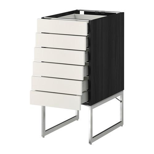 МЕТОД / МАКСИМЕРА Напольн шкаф 6фронт пнл/6 низ ящ - 40x60x60 см, Веддинге белый, под дерево черный