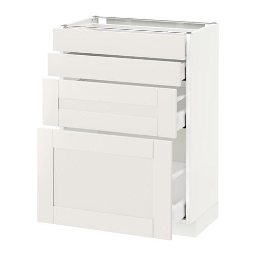 МЕТОД / МАКСИМЕРА Напольн шкаф 4 фронт панели/4 ящика - 60x37 см, Сэведаль белый, белый