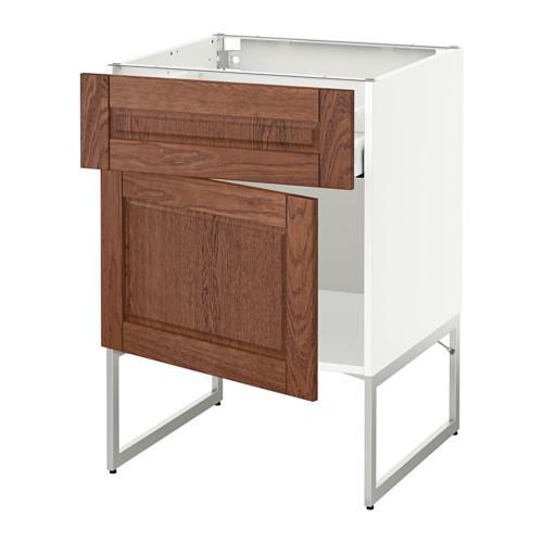 МЕТОД / МАКСИМЕРА Напольный шкаф с ящиком/дверью - 60x60x60 см, Филипстад коричневый, белый
