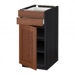 МЕТОД / МАКСИМЕРА Напольный шкаф с дверцей/2 ящиками - 40x60 см, Филипстад коричневый, под дерево черный