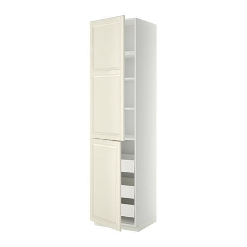 МЕТОД / МАКСИМЕРА Высокий шкаф+полки/3 ящика/2 дверцы - белый, Будбин белый с оттенком, 60x60x240 см