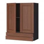 МЕТОД / МАКСИМЕРА Навесной шкаф/2дверцы/2ящика - 80x100 см, Филипстад коричневый, под дерево черный