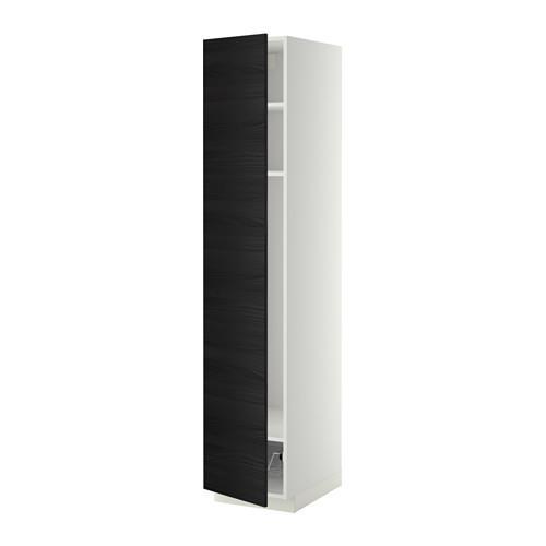 МЕТОД Выс шкаф с полками/проволоч корзин - 40x60x200 см, Тингсрид под дерево черный, белый