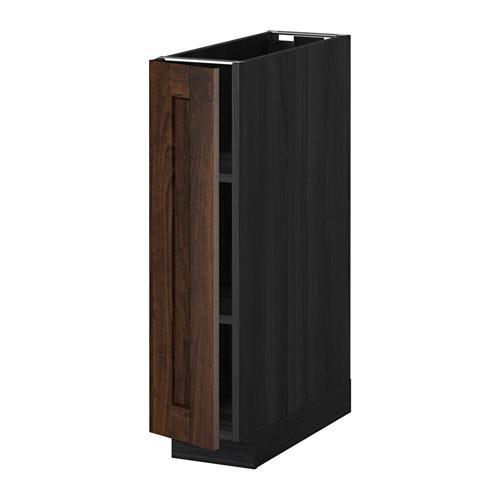 МЕТОД Напольный шкаф с полками - 20x60 см, Эдсерум под дерево коричневый, под дерево черный