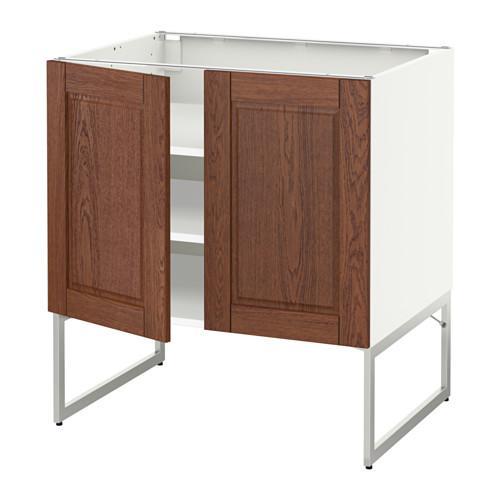 МЕТОД Напол шкаф с полками/2двери - 80x60x60 см, Филипстад коричневый, белый