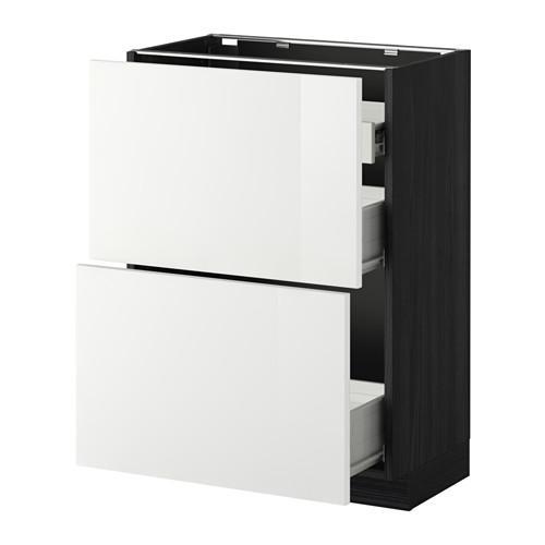 VERFAHREN / FORVARA Nap Schrank 2 FRNT PNL / 1nizk / 2sr Schubladen - Holz schwarz, glänzend weiß Ringult, 60x37 cm