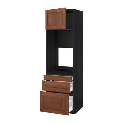 МЕТОД / МАКСИМЕРА Выс шкаф д/двойн духовки/3ящ/дверца - под дерево черный, Филипстад коричневый, 60x60x200 см