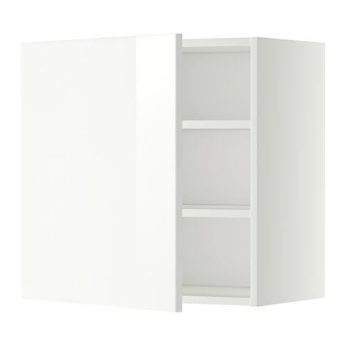 МЕТОД Шкаф навесной с полкой - 60x60 см, Рингульт глянцевый белый, белый