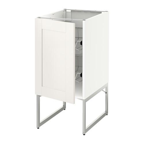 МЕТОД Напольный шкаф с проволочн ящиками - 40x60x60 см, Сэведаль белый, белый