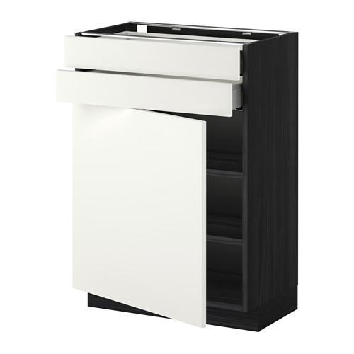 МЕТОД / МАКСИМЕРА Напольный шкаф с дверцей/2 ящиками - 60x37 см, Хэггеби белый, под дерево черный
