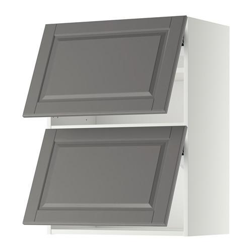 МЕТОД Навесной шкаф/2 дверцы, горизонтал - 60x80 см, Будбин серый, белый