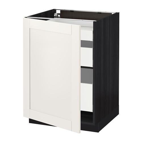 МЕТОД / МАКСИМЕРА Напольный шкаф с 1двр/3ящ - 60x60 см, Сэведаль белый, под дерево черный