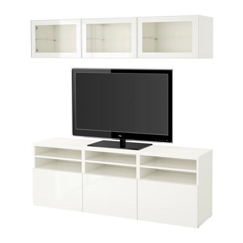 БЕСТО Шкаф для ТВ, комбин/стеклян дверцы - белый/Сельсвикен глянцевый/белый прозрачное стекло, направляющие ящика,нажимные