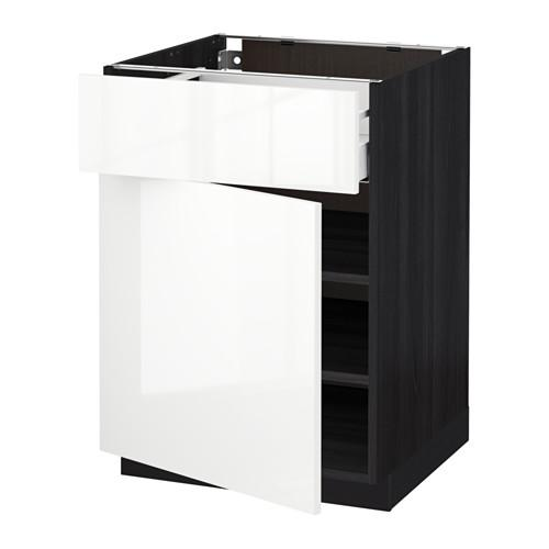 МЕТОД / МАКСИМЕРА Напольный шкаф с ящиком/дверью - 60x60 см, Рингульт глянцевый белый, под дерево черный