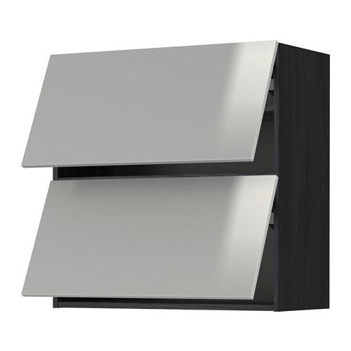МЕТОД Навесной шкаф/2 дверцы, горизонтал - 80x80 см, Гревста нержавеющ сталь, под дерево черный