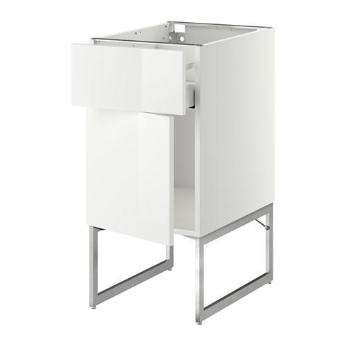 МЕТОД / МАКСИМЕРА Напольный шкаф с ящиком/дверью - 40x60x60 см, Рингульт глянцевый белый, белый