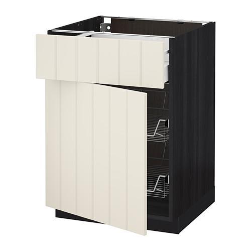 МЕТОД / МАКСИМЕРА Напольн шкаф с пров корз/ящ/дверью - 60x60 см, Хитарп белый с оттенком, под дерево черный