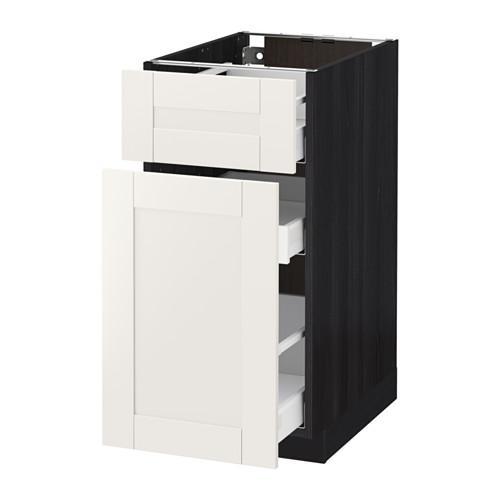 МЕТОД / МАКСИМЕРА Напольн шкаф/выдвижн секц/ящик - 40x60 см, Сэведаль белый, под дерево черный