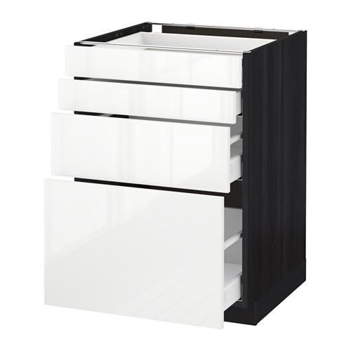 МЕТОД / МАКСИМЕРА Напольн шкаф 4 фронт панели/4 ящика - 60x60 см, Рингульт глянцевый белый, под дерево черный