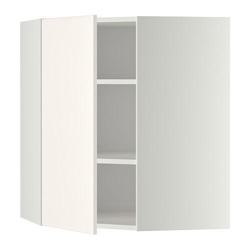 МЕТОД Угловой навесной шкаф с полками - 68x80 см, Веддинге белый, белый