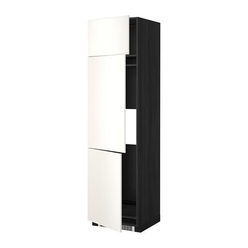 МЕТОД Выс шкаф для хол/мороз с 3 дверями - 60x60x220 см, Веддинге белый, под дерево черный