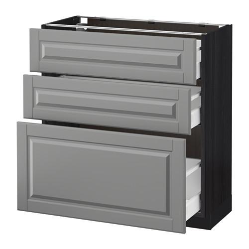МЕТОД / МАКСИМЕРА Напольный шкаф с 3 ящиками - 80x37 см, Будбин серый, под дерево черный