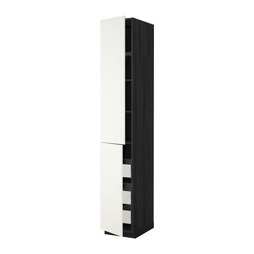МЕТОД / МАКСИМЕРА Высокий шкаф+полки/3 ящика/2 дверцы - под дерево черный, Хэггеби белый, 40x60x240 см