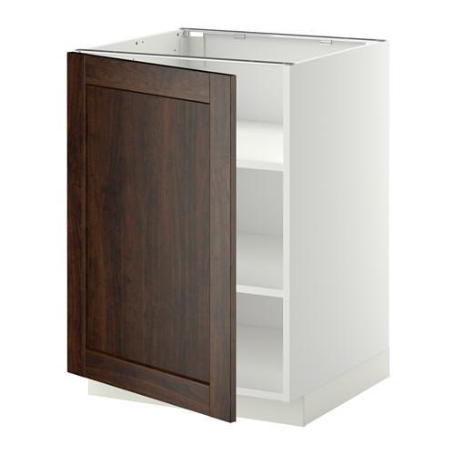 МЕТОД Напольный шкаф с полками - 60x60 см, Эдсерум под дерево коричневый, белый