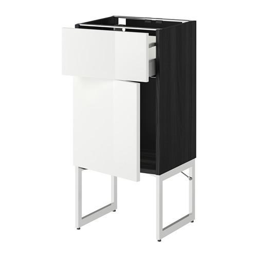 МЕТОД / МАКСИМЕРА Напольный шкаф с ящиком/дверью - 40x37x60 см, Рингульт глянцевый белый, под дерево черный