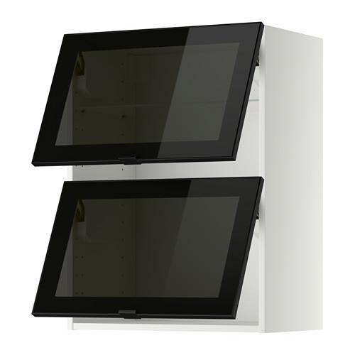 МЕТОД Навесн горизонтал шкаф/2 зерк дверц - 60x80 см, белый, Ютис дымчатое стекло/черный