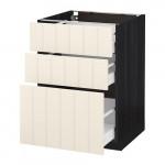 МЕТОД / МАКСИМЕРА Напольный шкаф с 3 ящиками - 60x60 см, Хитарп белый с оттенком, под дерево черный