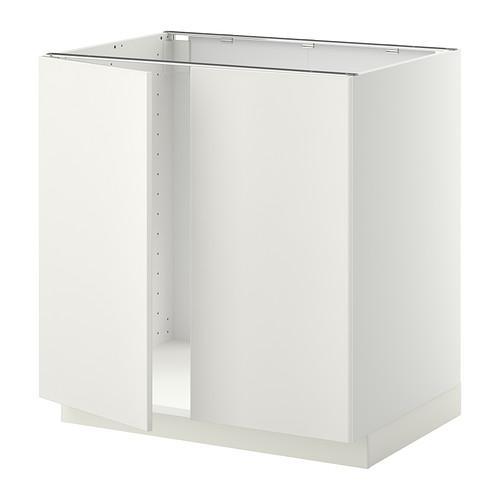 МЕТОД Напольн шкаф д раковины+2 двери - Веддинге белый, белый