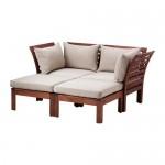 ÄPPLARÖ 2-seters modulær sofa, hage med fotskammel brun flekk / Hollo beige