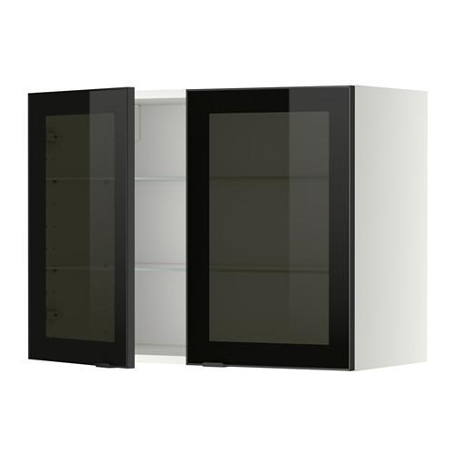 МЕТОД Навесной шкаф с полками/2 стекл дв - 80x60 см, Ютис дымчатое стекло/черный, белый