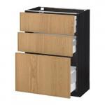 МЕТОД / МАКСИМЕРА Напольный шкаф с 3 ящиками - 60x37 см, Экестад дуб, под дерево черный