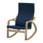 Poeng rocking chair - Edum dark blue, oak veneer