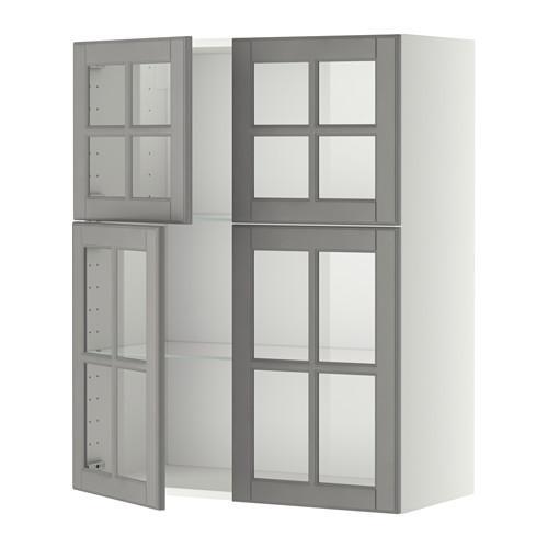 МЕТОД Навесной шкаф с полками/4 стекл дв - белый, Будбин серый