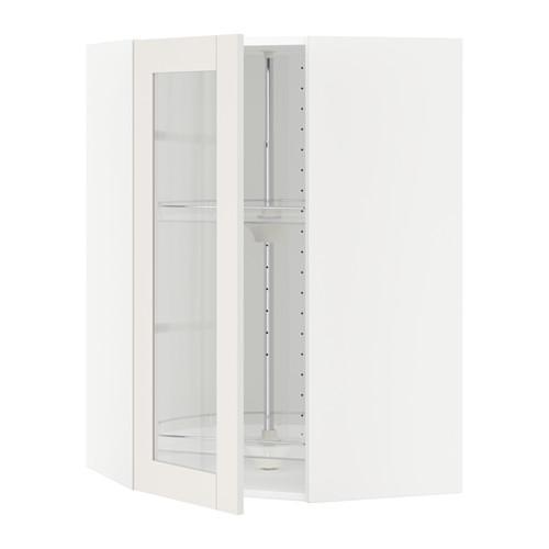 МЕТОД Углов навесн шк с врщ скц/сткл дв - 68x100 см, Сэведаль белый, белый