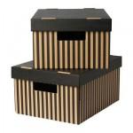 ПИНГЛА Коробка с крышкой - черный, 28x37x18 см