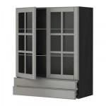 МЕТОД / ФОРВАРА Навесной шкаф/2 стек дв/2 ящика - 80x100 см, Будбин серый, под дерево черный