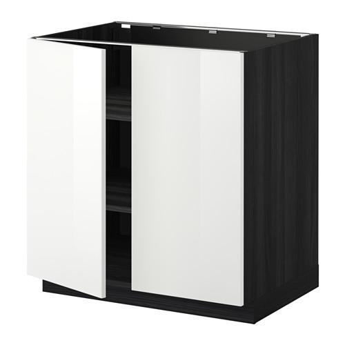 МЕТОД Напол шкаф с полками/2двери - 80x60 см, Рингульт глянцевый белый, под дерево черный