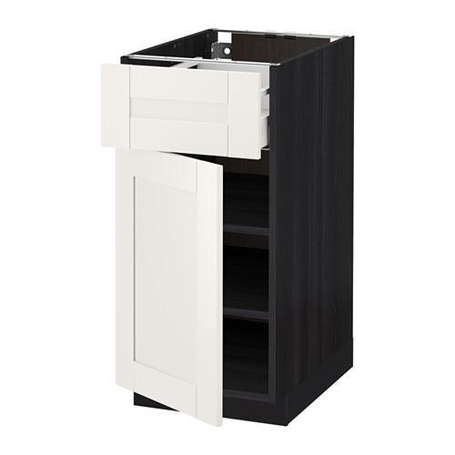 МЕТОД / МАКСИМЕРА Напольный шкаф с ящиком/дверью - 40x60 см, Сэведаль белый, под дерево черный
