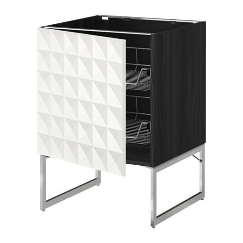 МЕТОД Напольный шкаф с проволочн ящиками - 60x60x60 см, Гэррестад белый, под дерево черный